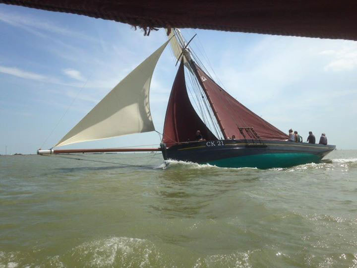 Maria sailing back into the Orwell from the Pye End buoy. Picture taken from the deck of Mary Amelia